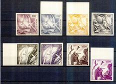 Monaco 1955/1957 – 'Oiseaux de Mer' (sea birds), 8 non-serrated variations of successive trials - Between Yvert PA no. 55 and 68