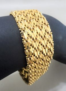 Very wide and heavy 18 kt gold plated bracelet, 1970s