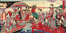 "Woodcut tryptich by Toyohara Chikanobu - ""boat ride in Shibaura"" - Japan - 1880"