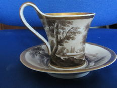 KPM Berlin-Biedermeier Cup and saucer ' Encre de Chine ' pastoral decor, ca 1930