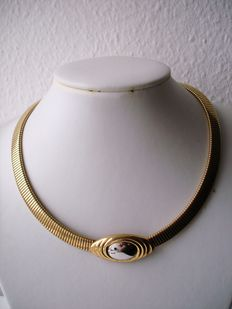 Vintage 1970s – signed KJL - Gold and Rhodium plated Necklace / Ribbed Bold Collar - NO Reserve
