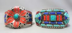 Two Tibetan style bracelets – Treated turquoise, lapis lazuli and coral paste