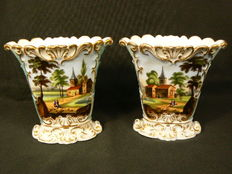 Vieux Paris- Set of hand-painted cornet vases, 19th century
