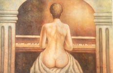 Original; Unknown artist - Naked Woman on Piano - 2nd half of 20th century