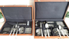 79 piece, Christofle cutlery section in the model Aria goldband.in two cases.