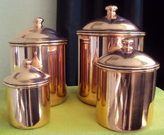 Four spice pots in copper tinned inside, 20th century