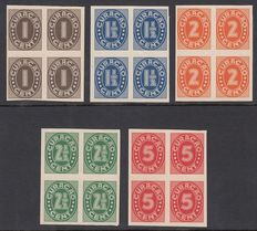 Curacao 1942 - digit - Proeven PC58/PC62 in blocks of four