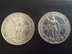 "Belgium, 50 francs, 1935, (French), ""World's Fair"", positions A and B, (two coins), silver"