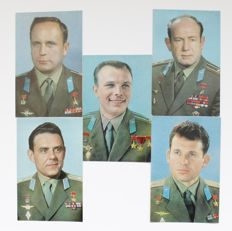 Russia/USSR. Collection of 25 USSR vintage photo postcards with With Soviet cosmonauts