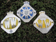 Three different ANWB Roadside Assistance emblems - 1960s