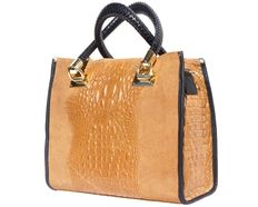 OPEN TOTE bag made from cross-stamped crocus leather with gold-coloured accessoried. Tuscany leather - Florence