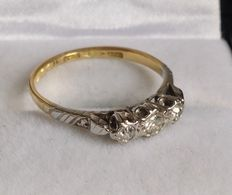 18kt Gold and Platinum Diamond Trilogy Ring