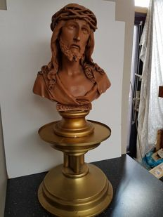Christ bust on heavy bronze tall foot - 1900/1920 - Netherlands