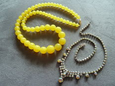 A necklace of yellow glass pearls - Aurora Borealis Crystal necklace