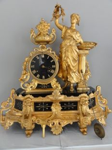 French pendulum clock - period 1880, zamak on black marble