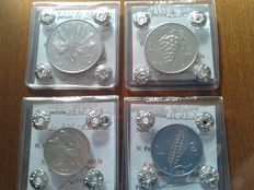 Republic of Italy - Complete 1949 series of four denominations of 1/2/5/10 Lire