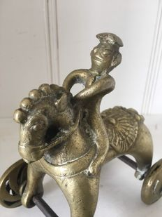 Temple toy horse/rider bronze – India – early 20th century