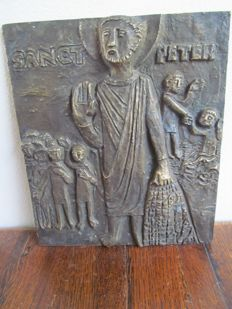 Saint Peter the apostle - Bronze relief plaque - Germany - 20th century