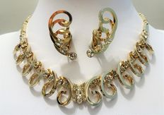 Signed Sarah Coventry – Demi Parure – Gold plated Swirls and Rhinestone – Necklace and Earrings