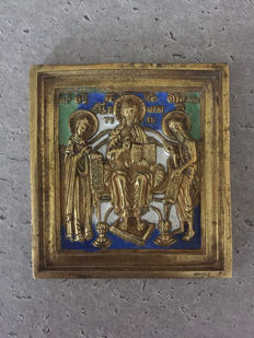 Beautiful Deesis travel icon - 19th century