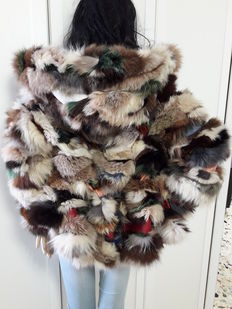 Exclusive natural fox fur and leather. Jacket with hood Hand-crafted in Italy.