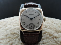 1927 ROLEX 9K PINK GOLD CUSHION CASE WITH GUILLOCHE DIAL