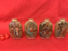 Eastern erotica; 4 snuff bottles - late 20th century