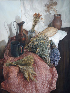 Bobyreva Mariia (1992-still exist) - Still life with dried herbs and home-made bread