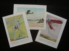5 very early aircraft prints on 3 sheets - ca. 1928