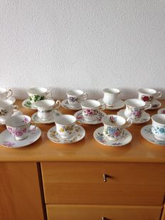 17 English cups and saucers.