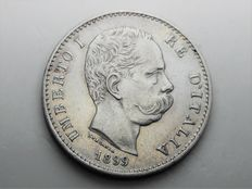 Kingdom of Italy, 1-lire coin from 1899, King Umberto I, in silver.