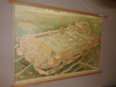 "Old school poster / school map on linen from ""The Temple of Jerusalem, in New Testament time (after Schick)"""