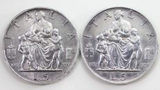 Kingdom of Italy, 5 Lira 'Famiglia' ['Family'], 1936/1937, Victor Emmanuel III  (2 coins) - silver
