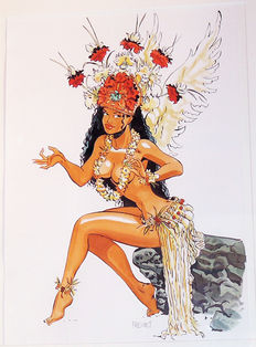Meynet, Félix - Large Format Original Drawing in India Ink and Coloured Inks