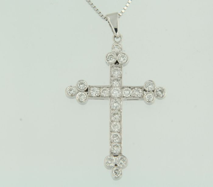 14 kt white gold necklace and a cross pendant set with diamonds 14 kt white gold necklace and a cross pendant set with diamonds approx 090 aloadofball Gallery
