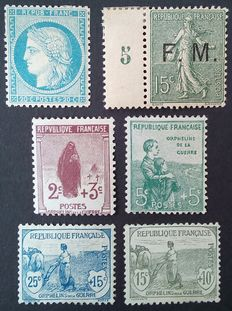 France 1870-1918 – Selection of 6 stamps, one of which is signed Calves – Yvert no. 37, 148-51 and FM3