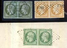 France 1854/1860 - Imperforate Empire, 3 pairs including one on letter - Yvert no. 11, 12 and 13A