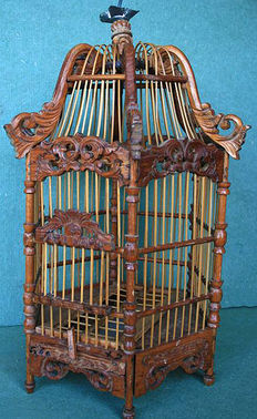Bird cage made of Balinese wood, 2nd half 20th century