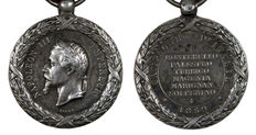 France - Ancient silver military medal Napoleon III, commemorative of the campaign of Italy, 1859.