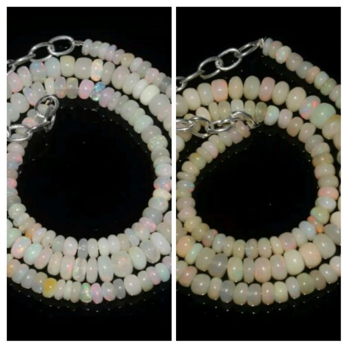 Two Natural Welo Opal Necklaces 55/57 ct Silver clasp