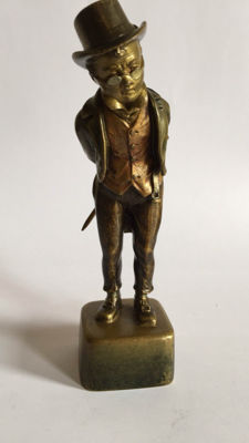 A Viennese bronze man on pedestal - ca. 1900