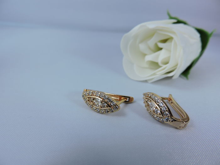 14 kt gold earrings set with almond-shaped zirconias ... Almonds Vertaling