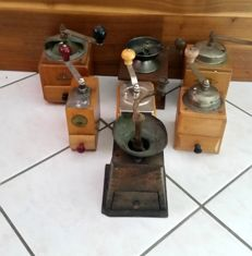 Lot of 7 old coffee mills