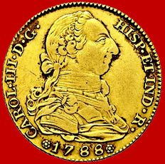 Spain - Carlos III (1759-1788), gold doubloon of 4 escudos. Madrid, 1788
