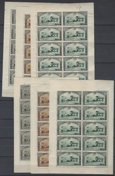 OBP numbers 407 to 409 - series 'Postkoets' (postal carriage) in sheets of 10 - 1x completely MNH - 1x with hinge on the edge of the sheet