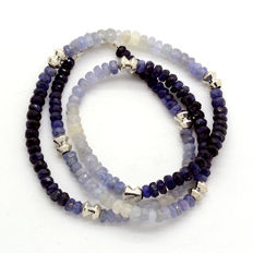 925 sterling silver necklace with sapphire in degraded colour from white to blue