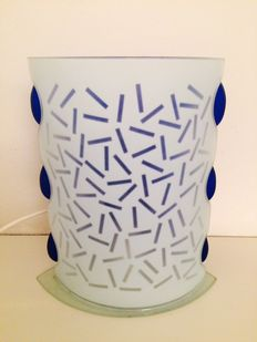 Unkown designer -  Table lamp in blue and opaline glass with Memphis pattern called Letraset