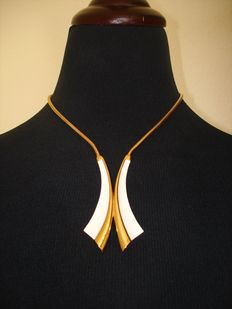 Vintage 1970s  - Crown Trifari - Gold plated Enameled Modernist Statement Necklace - NO Reserve