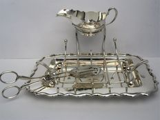 Asparagus dish with sauce bowl and asparug tongs, Stewart Dawson, England, ca. 1920