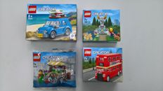 Creator - 40140 + 40220 + 40221 + 40252 - Flower Cart + Mini London Bus + Fountain + Mini Volkswagen Beetle